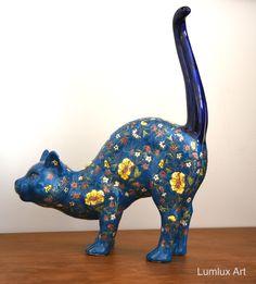 Ceramic Cat Blue with flower print 21 cm Long - 31 cm Hight