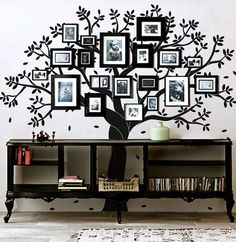 Family tree photo wall mural, awesome idea!