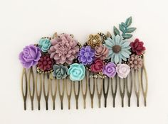 Fall Wedding Hair Comb Maroon Purple Aqua Mint Gray Blue Lilac Lavender Floral Hair Comb Leaf Woodland Bridal Headpiece Bridesmaid Gift WR