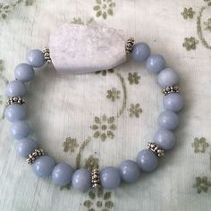 Angelite and Blue lace Agate Druzy Crystal Healing Bracelet Healing Bracelets, Crystal Bracelets, Blue Lace Agate, Crystal Healing, Gemstones, Crystals, Projects, Jewelry, Log Projects