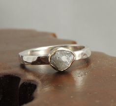 Rough Diamond Engagement 14k Gold and Sterling Silver, Alternative Engagment, Raw Diamond, Conflict Free Diamond, Eco Friendly Wedding on Etsy, $235.00