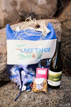 Lake Tahoe wedding welcome bag ideas. @westshorecafe wedding from @ofdevents and @catherinehall.