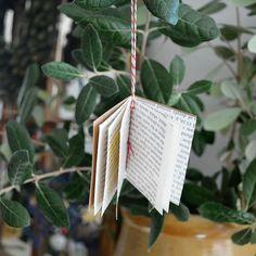 tiny book Christmas ornament