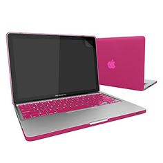 """Slickblue (TM) Macbook-Pro-13"""" (A1278) Rubberized Hard Case With Keyboard Skin & Screen Protector - Hot Pink"""