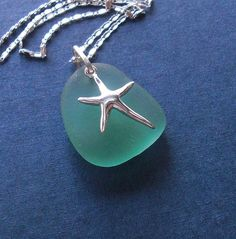 Sea Glass Jewelry - Aqua seaglass starfish necklace by Ecstasea, via Flickr: Perfect project for me, since I'm obsessed with sea glass.
