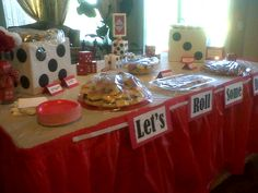 Bunco Dice Tablescape filled with sweet AND tasty treats! (covered with wrap by hostess, until her guests arrive)