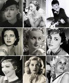 Hair & Makeup - brows are generally long, thin and highly curved. Some are all one width (Jean Harlow, bottom right), others have a slightly wider inner edge and taper to a thin line towards the outer point (Olivia deHavilland, center right). 1930s Fashion, Vintage Fashion, Vintage Clothing, Women's Fashion, Classic Hollywood, Old Hollywood, Gran Hotel Budapest, 1930s Makeup, 1930s Hair