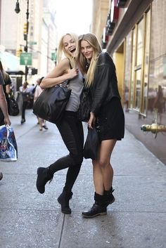 I think that's Ginta on the left...I love both these looks. #fashion #leather