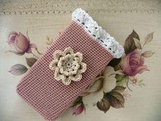 Handytasche gehäkelt Shabby Spitze Blume Muttertag Schutzhülle Täschchen Cotton