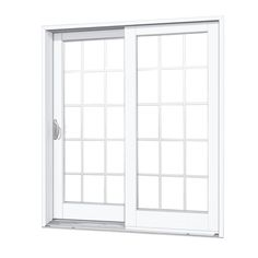 MasterPiece 59-1/4 in. x 79-1/2 in. Composite Woodgrain Interior Left-Hand 15 Lite Grilles Between The Glass Sliding Patio Door, Smooth White Exterior Surface/Woodgrain Interior Surface