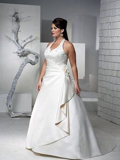 A-line V-neck Halter Satin Wedding Dress plus size, very nice roses ...