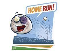 Ilustração, Charge - Home Run! por André Bets