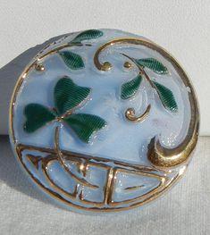 Shamrock Czech Glass Button by MostlyButtons on Etsy, $5.00