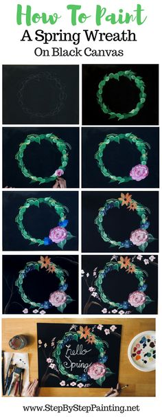 Beginners can learn how to paint a Spring wreath on a black canvas. Green leaves, a rose, cherry blossom branches, blue and orange flowers. These beginning acrylic painting tutorials are easy to follow!