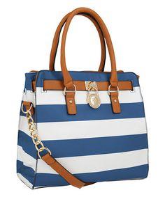 Another great find on #zulily! Royal Blue & White Stripe Satchel #zulilyfinds