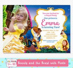 Beauty And The Beast Invitation with photo, Beauty And The Beast Party, Beauty And The Beast Invite, Beauty And The Beast Birthday Belle by VectorsForAll on Etsy