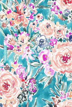 WAHINE WAYS Barbarian print   Click through to shop this print and download a phone wallpaper.   #floral #aqua