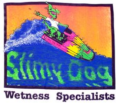 """The original """"wetness specialists"""" shirt with none other than Slimy Dog himself shredding an old-school cool 80's Kawasaki."""
