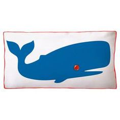 Cotton canvas pillow with a whale motif and back striping.   Product: PillowConstruction Material: 100% Cotton canvas cover and polyester fillColor: Blue and whiteFeatures:  Insert includedZipper closure Dimensions: 11 x 21Note: Includes one pillow. Image depicts front and back of pillow.  Cleaning and Care: Hand wash or machine wash cold