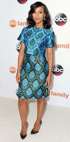 Kerry Washington wowed in bejeweled blue-and-green brocade Mary Katrantzou separates, with drop gem earrings and black pumps.