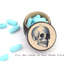 Skull Non Toxic Vitamin Box ($13) ❤ liked on Polyvore featuring home, home decor, skull home decor and skull home accessories