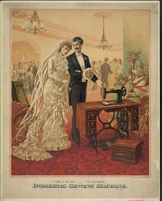Domestic sewing machine. [bride and groom] c1882.  Popular Graphic Arts, Library of Congress Prints and Photographs Division.