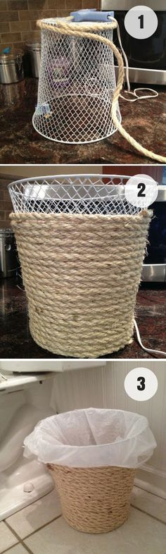 Easy to make DIY Rope Trash Can for rustic bathroom decor /istandarddesign/