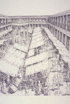 """A macellum is an ancient Roman indoor market building that sold mostly provisions. The building normally sat alongside the forum and basilica, providing a place in which a market could be held. Image from """"City: A Story of Roman Planning and Construction"""" by David Macaulay. #RomanHistory"""