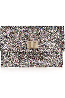 Valorie glitter-finished leather clutch by Anya Hindmarch