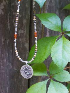 Silver Jasper & Carnelian Om Symbol Necklace by LifeisBalance, $78.00