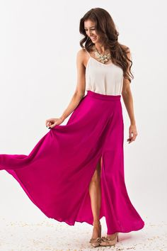 Maxi Skirts, Long Skirts, Bold Skirts for Women, Fuchsia Skirts, Holiday Outfit Inspiration – Morning Lavender