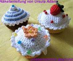 Häkelanleitung MUFFIN Cupcake häkeln bebilderte ANLEITUNG für ein Nadelkissen