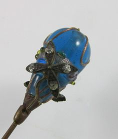 Antique Victorian Gold Filled Hatpin Flower Overlay Blue Venetian Glass & Stone