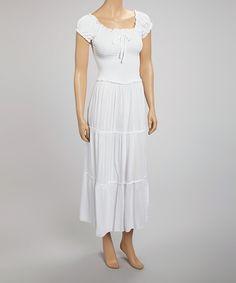 Look at this #zulilyfind! White Peasant Maxi Dress by SR Fashions #zulilyfinds