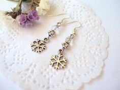 Christmas Snowflake Charm Earrings  Snow Winter by SomeBijoux4You
