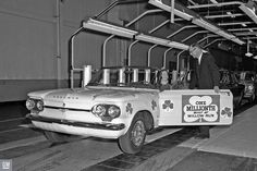 In March of the one millionth automobile built at GM's Willow Run Plant rolled off the assembly line. Auto production at Willow Run Assembly did not begin until July, Assembly Line, Small Cars, Cavalier, Old Cars, Spectrum, Cod, Chevy, Michigan, Automobile