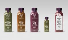 Fruit and vegetable smoothies are naturally good for you, but Nosh Refresh  tells you upfront what you can expect from each mouthwatering flavor.  Whether you're looking to energize or calm yourself, Valiant designed the  packaging to help consumers choose exactly what they need.