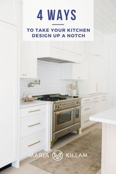 Slapping white paint on old oak, cherry or espresso cabinets does little to turn the average, run-of-the-mill kitchen into the fabulous (or dare I say it, farmhouse) white kitchen that everyone wants. Here are 4 PROVEN WAYS to take your kitchen design up a notch.