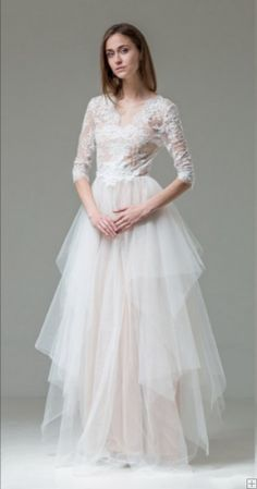 Hippie Chic Style Lace Bodice Puffy Ball Gown Ivory overlay Blush Tulle Long Wedding Dress with Long Sleeves