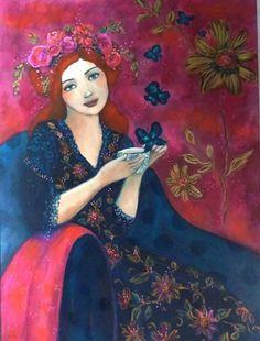 Le boudoir Rose (54x73cm) acrylique sur toile .Toile pièce unique réalisée dans mon atelier.Portait de femme à l'heure du thé,papillons,fleurs...esprit romantique et poétique - 16647518