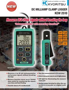 DC Milliamp Clamp Logger KEW 2510 • Measures 4 to 20 mA instrumentation and process signals without breaking the loop • Memory function stores up to 192000 data useful for monitoring the signals over time and fault finding • Transfer data to PC via Bluetooth • Top class measurement 0.2% accuracy • ∅6mm clamp jaw easy to use in tight places http://systemprotection.in/