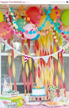 birthday party decoration ... paper circle garland // by pomtree