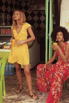 French Quarter Wrap Mini Dress - Yellow - Red - Black - Pretty - Femme - Printed Wrap Dress - Ruffle Details - Neckline - Tie At The Waist - Beach Aesthetic - Casual Dress - Women's Wrap Dress Modest Summer Outfits, Casual Day Dresses, Summer Outfits Women, Summer Dresses, Shift Dresses, Mini Dresses, Summer Clothes, Women's Dresses, Fashion Now