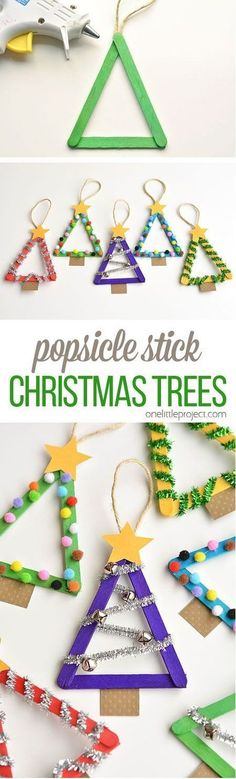 Kids Christmas projects Popsicle Stick Christmas Trees by One Little Project and other great DIY holiday decor Stick Christmas Tree, Noel Christmas, Christmas Projects, Holiday Crafts, Christmas Gifts, Christmas Ornaments, Holiday Ideas, Cheap Christmas, Winter Christmas