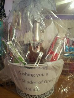 of grey holiday basket 50 Shades Party, Holiday Baskets, Shades Of Grey, Best Gifts, Gift Ideas, Shades Of Gray Color