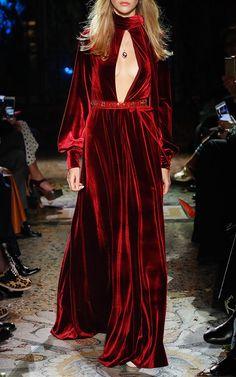 Velvet Long Sleeve Maxi Dress by Luisa Beccaria