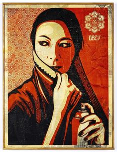 Street artist, Sheperd Fairey, Obey I love how some of the shadows on her face and clothes have patterns