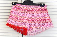 XS~ Women's Sleepwear Shorts ~ Childhood Lane ~ Pom Pom Party~ Pyjamas~Women's Pyjamas, Sleepwear, Boxer Shorts Lingerie by orchardrose. Explore more products on http://orchardrose.etsy.com
