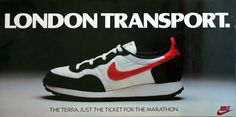 The first Nike poster for the London Marathon. Simon Minchin's work prior to him working for Minchin & Grimshaw Nike Poster, London Marathon, Creative Director, Sneakers Nike, Nike Tennis