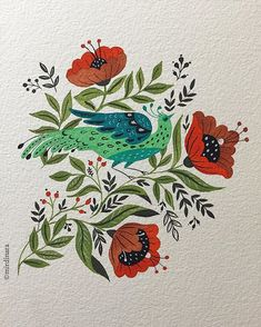 I just can't get these birds out of my mind! Can not stop drawing them )) by mirdinara Art And Illustration, Floral Illustrations, Folk Art Flowers, Flower Art, Painting Inspiration, Art Inspo, Art Sketches, Art Drawings, Guache